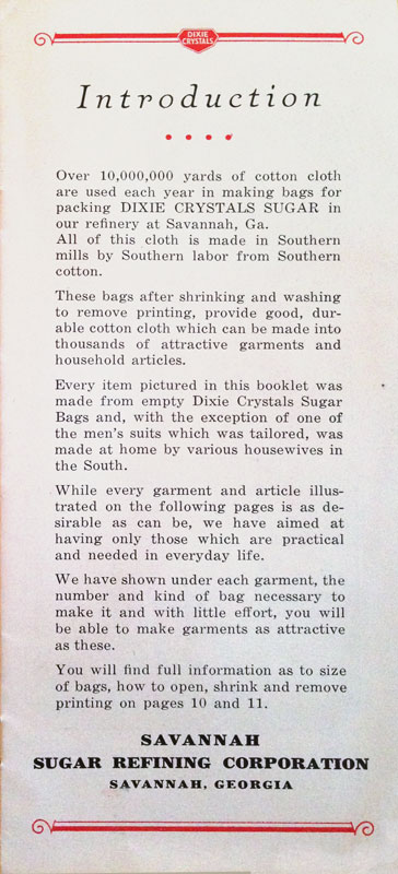 Pamphlet On Sewing With Dixie Crystals Bags